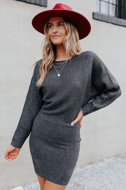 Boatneck Ribbed Charcoal Sweater Dress