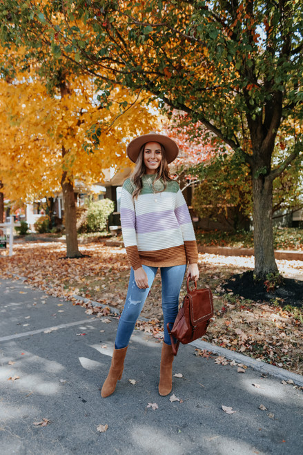 Mock Neck Colorblock Ribbed Sweater