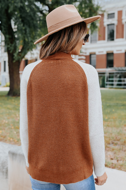 Mock Neck Raglan Contrast Sweater