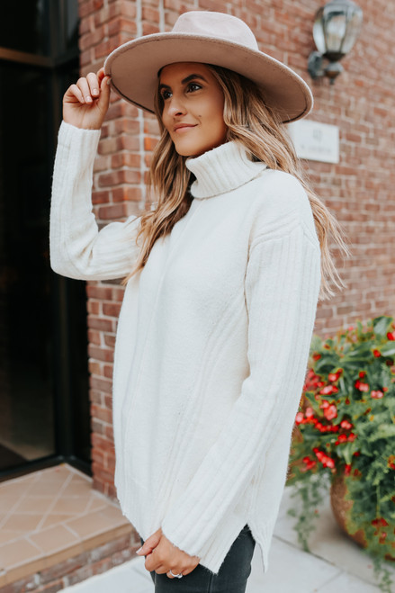 Twinkle Turtleneck Ribbed White Sweater