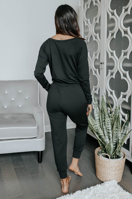 Boatneck Drawstring Terry Jogger Jumpsuit