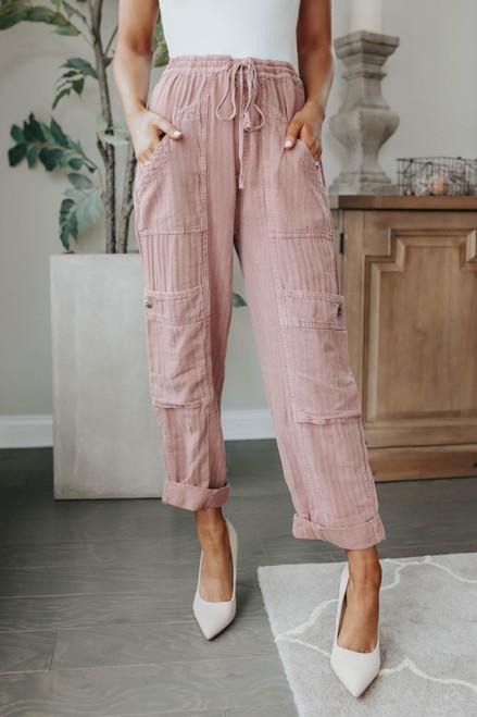 Free People Feelin Good Mauve Utility Pants