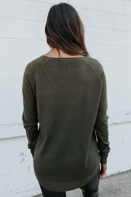 Lightweight Boatneck Olive Sweater