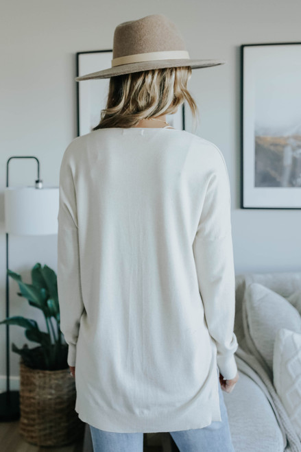 V-Neck Seam Detail Oatmeal High Low Sweater