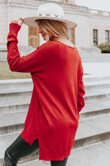 V-Neck Seam Detail Scarlet High Low Sweater