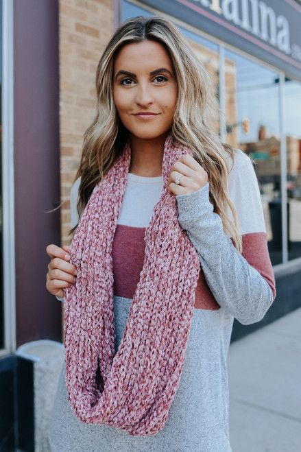 Clara Chenille Pink Infinity Scarf