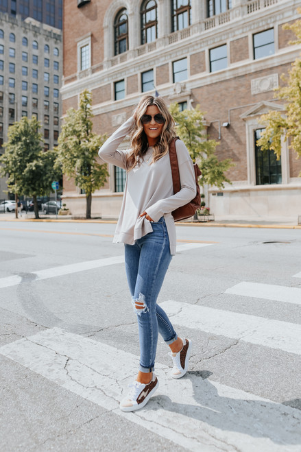 Coffee House Side Slit Taupe Pullover