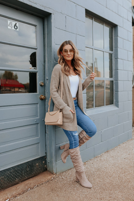 Two Tone Mocha Hooded Cardigan