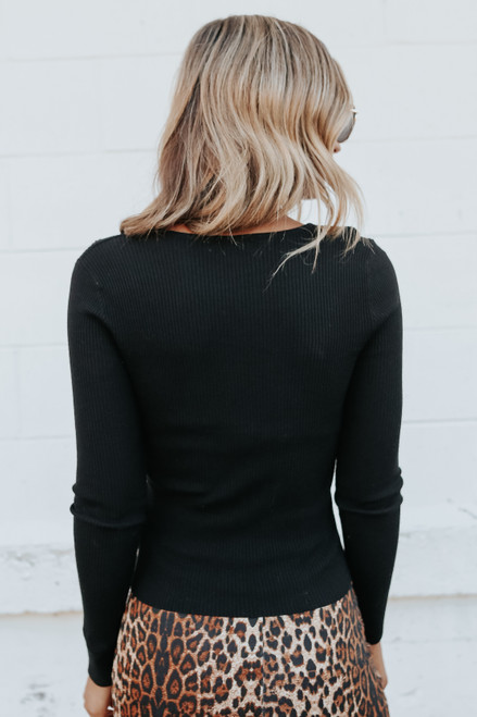 Ruched Sweetheart Black Ribbed Sweater