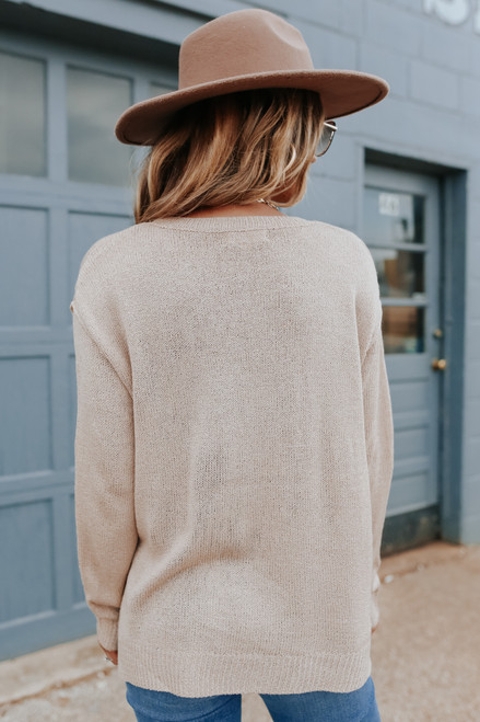 Corner Cafe Beige Pocket Sweater