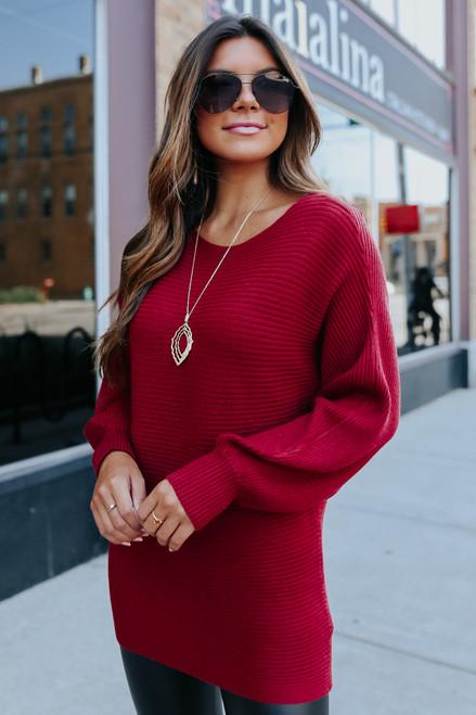 Scarlett Dolman Boatneck Ribbed Sweater