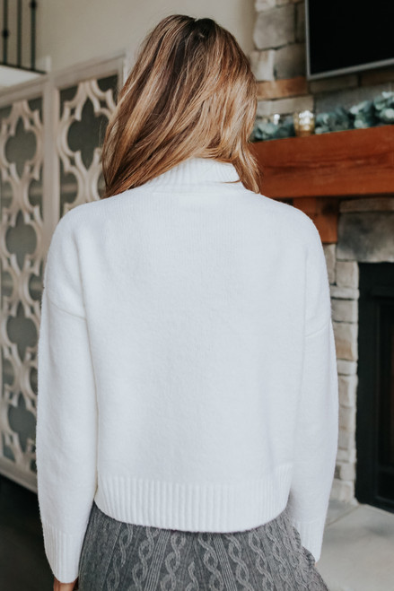 Mock Neck Ribbed Detail Cream Sweater
