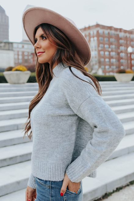 Mock Neck Ribbed Detail Grey Sweater