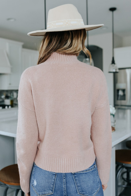Mock Neck Ribbed Detail Rose Sweater