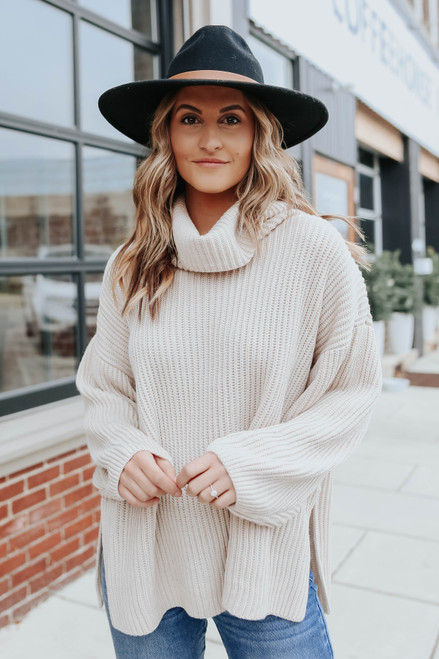 Cowl Neck Beige Side Slit Sweater