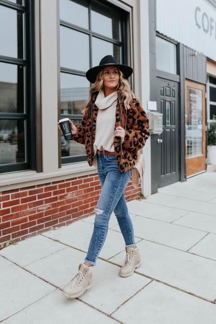 Cowl Neck Beige Side Slit Sweater - FINAL SALE