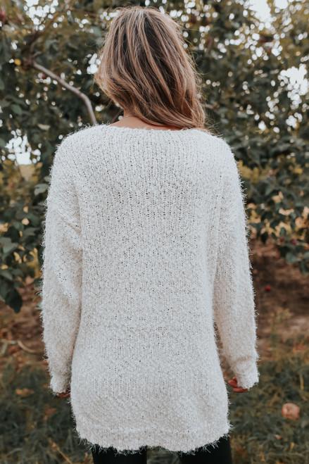 V-Neck Cream Popcorn Sweater