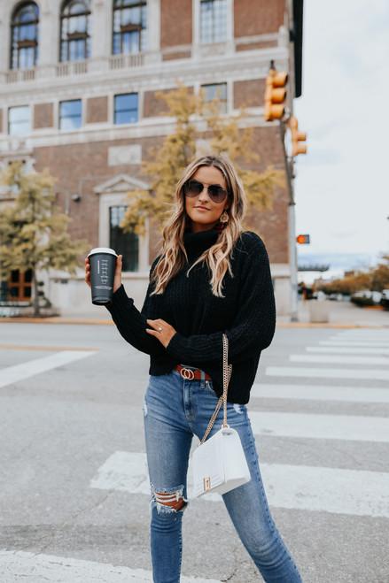 Turtleneck Black Chenille Sweater