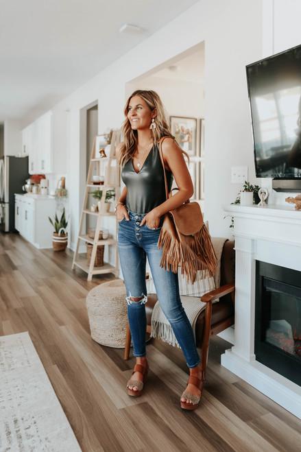 BB Dakota V How It Goes Vegan Leather Bodysuit