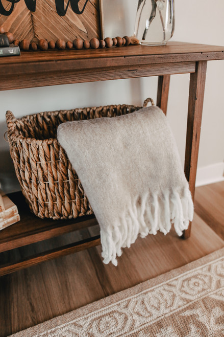 Contrast Fringe Taupe Throw
