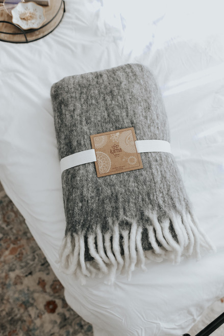 Contrast Fringe Charcoal Throw