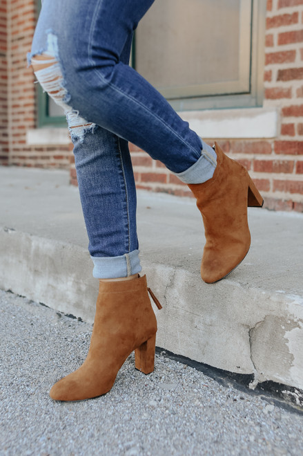 Faux Suede Maple Ankle Booties