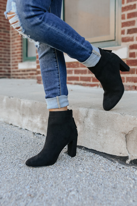 Faux Suede Black Ankle Booties