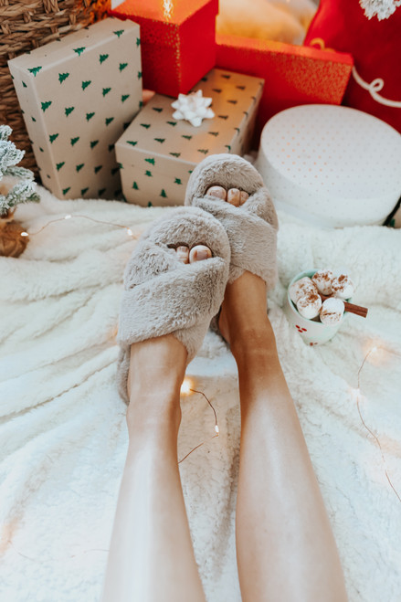 Faux Fur Cross Front Taupe Slippers