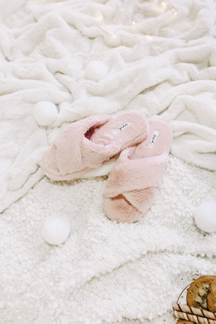Faux Fur Cross Front Nude Slippers