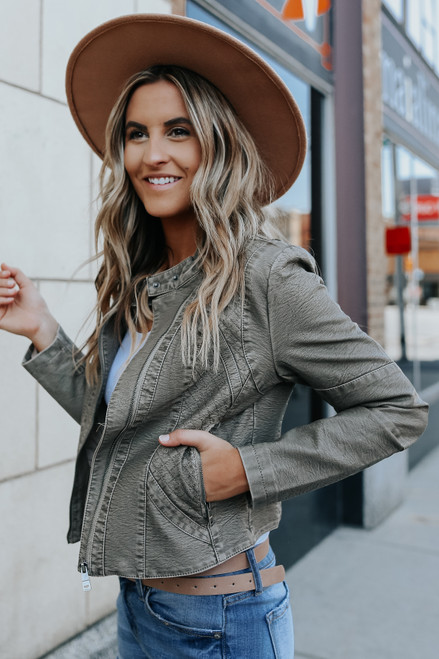 Rogue Quilted Grey Vegan Leather Jacket