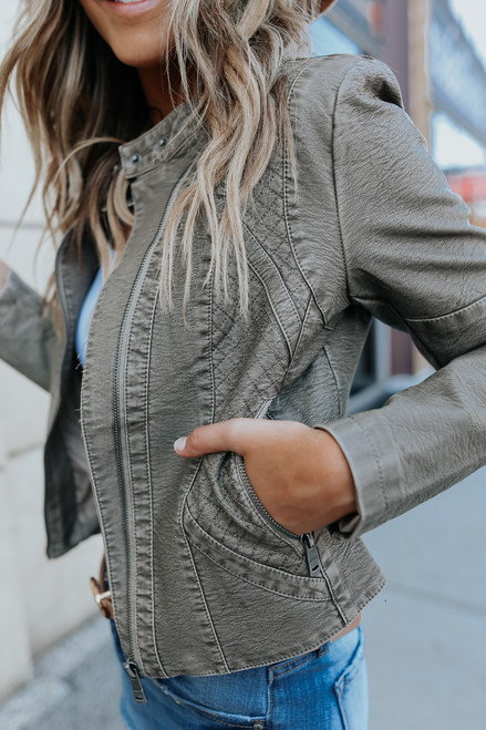 Rogue Quilted Stone Vegan Leather Jacket