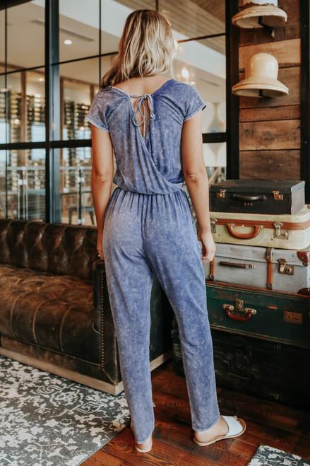 Indigo Bay Drawstring Vintage Wash Jumpsuit