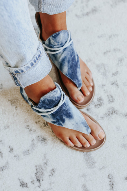 Very G Dusk Blue Tie Dye Sandals