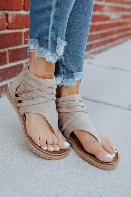 Very G Carly Criss Cross Tan Sandals