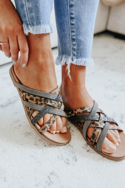 Very G Giselle Leopard Strappy Sandals