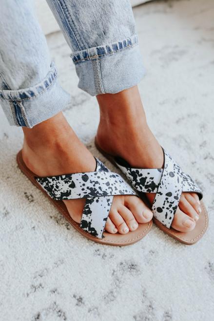 Very G Seaside Cow Print Sandals