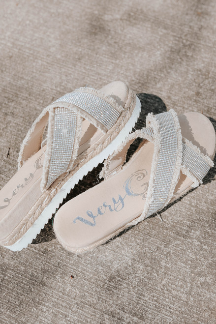 Very G Lucille Taupe Rhinestone Sandals