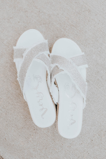 Very G Lucille White Rhinestone Sandals
