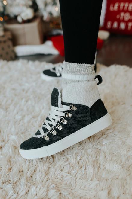 Very G Snuggly Charcoal Herringbone Sneakers