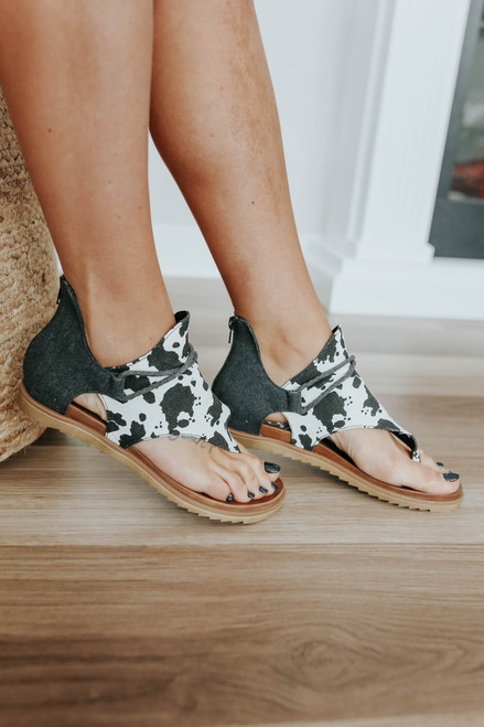 Very G Angelika Cow Print Sandals