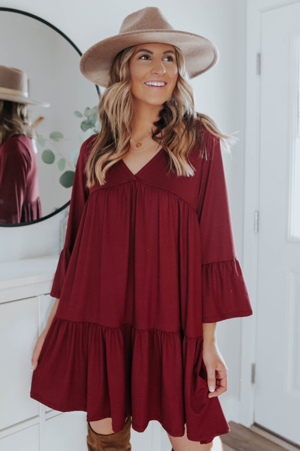 V-Neck Tiered Empire Dress