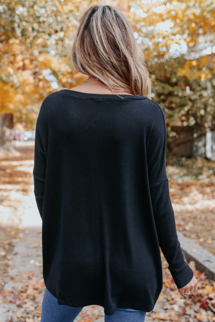 Ribbed Detail Black Brushed Top