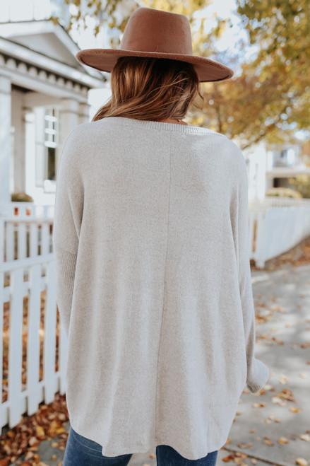 Ribbed Detail Grey Brushed Top