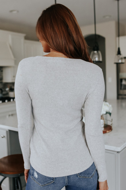 Brushed Ribbed Grey Henley Top