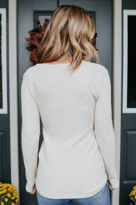 Brushed Ribbed Oatmeal Henley Top