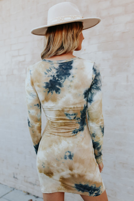 Long Sleeve Tie Dye Tulip Dress