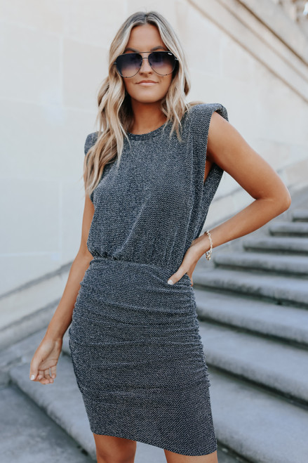 In the Spotlight Ruched Shimmer Dress