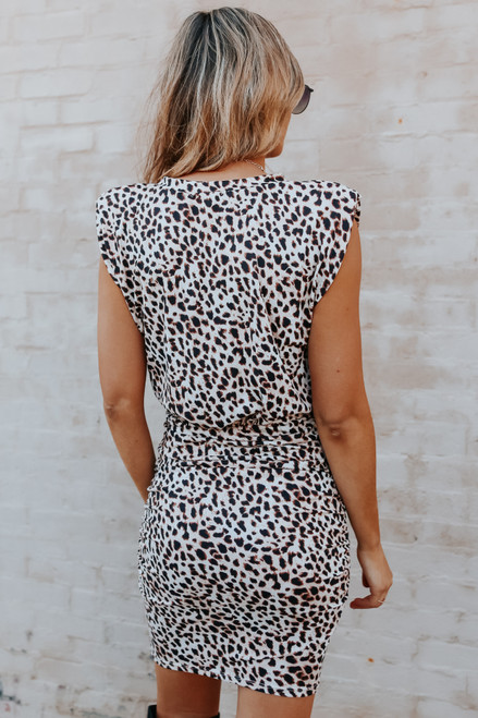 Cap Sleeve Leopard Ruched Dress