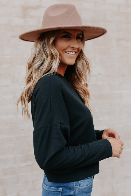 Weekend Ready Cropped Ribbed Pullover
