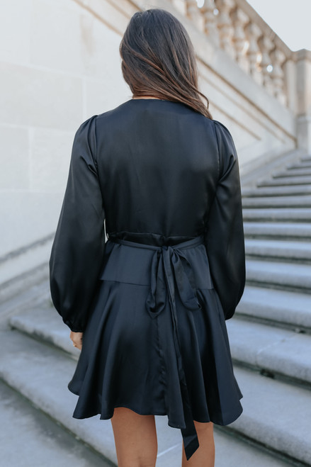 After Hours Black Satin Wrap Dress